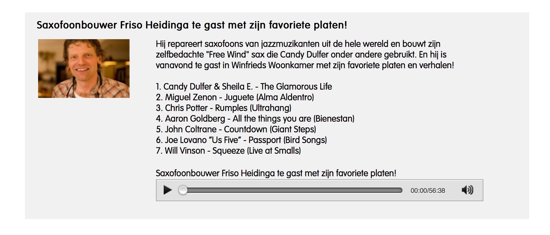 Friso Heidinga guest in Radio6 Winfrieds Woonkamer